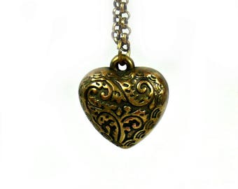 Heart Pendant - Heart Necklace - Heart Pendant - Puffy Heart - Ornate Heart Necklace - Heart for Her - Vintage Jewelry