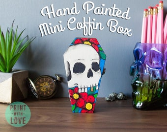"4.75"" Skull Halloween Tattoo Flash Casket Coffin Ring Trinket Jewelry Stash Box Hand Painted Goth Punk  Free Shipping"