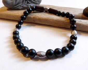 Unisex bracelet in ethnic style in black onyx matte