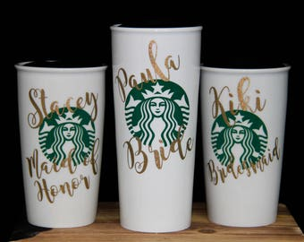Starbucks Wedding Party Gift for Bride, Bridesmaid, Maid of Honor, Bridal Shower Personalized Glitter Ceramic Travel Mug / Tumbler