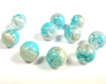 10 pearls blue and white speckled clear 8mm