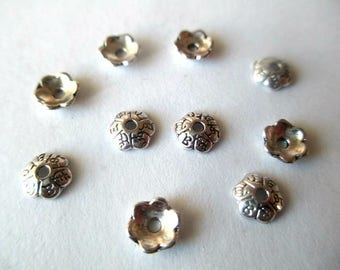 20 caps metal flower antique silver 6mm