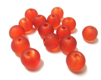 20 frosted orange glass beads 6mm (J-23)