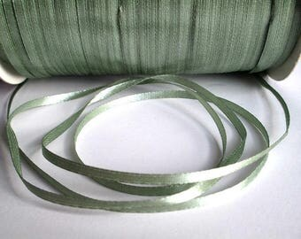 5 m lichen green 3mm satin ribbon