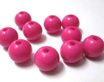 10 pearls 10mm fuchsia acrylic