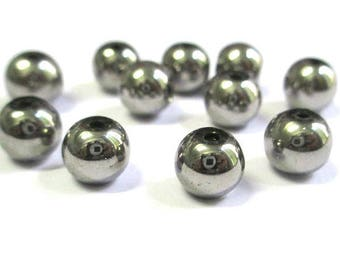 20 beads silver electroplate glass 8mm