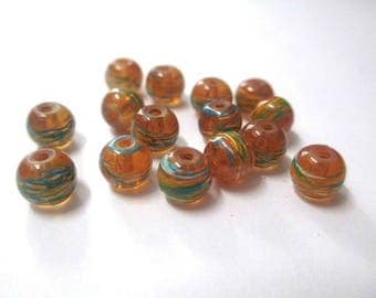 20 beads orange translucent drawbench multicolor painted glass 6mm