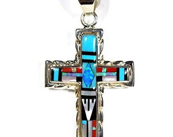 Southwesthern Multicolor Stones Inlay 925 Sterling Silver Cross Pendant necklace. free shipping in USA