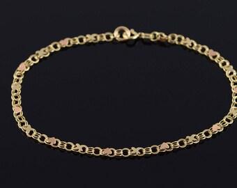 "14k Heart Link Chain Bracelet Gold 7.1"""
