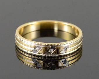 18k Vintage Diamond Inset Two Tone Texture Wedding Band Ring Gold