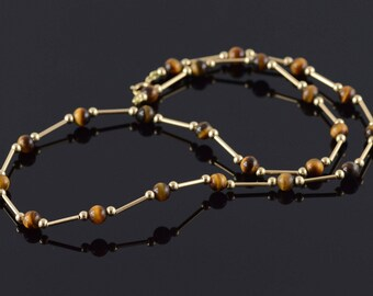 """14k 5.2mm Tigers Eye Ball Bar Link Necklace Gold 18"""""""