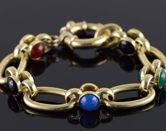 "14k HEAVY Cabochon Gemstone Fancy Bracelet Gold 7"""