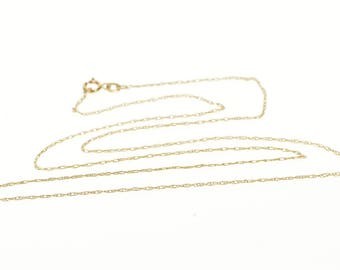 """10k 0.6mm Rolling Elongated Cable Link Chain Necklace Gold 18.25"""""""