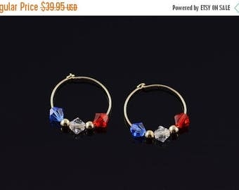 Big SALE 14k Red White Blue Crystal Circle Hoop Earrings Gold