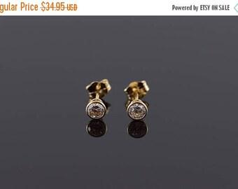 Big SALE 14k 0.33 CTW White CZ Stud Earrings Gold