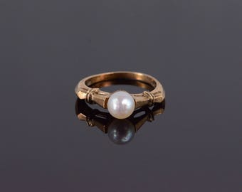 10k Retro Cultured Pearl Engagement Ring Gold