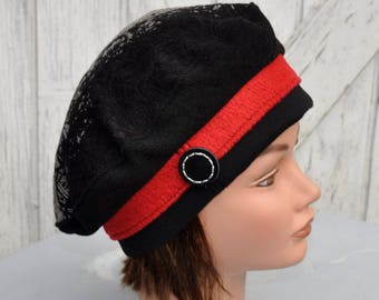 Black and red wool women beret Hat decor button size 55, 56-5, 5cm