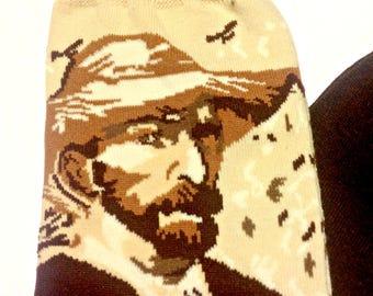 Art Socks,Van Gogh Self Portrait,Brown Trouser Socks,Fine Art Socks,Women,Art Teacher,Artist,Teacher,Earth Tones,Artsy Art Socks