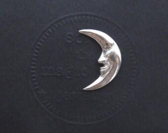 Crescent Moon tie tack, Moon Tie pin, Moon brooch pin, silver