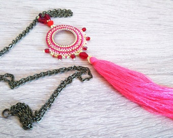 Necklace woven with Miyuki, tassel, flashy pink neon, fluorescent yellow, red, pink, yellow