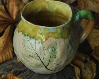 yellow ceramic cup for tea cup with leaves yellow ceramic mug for plant lovers gift ceramic rustic cup