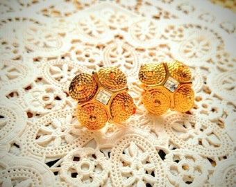 GORGEOUS Clip Earrings-Gold with Rhinestone-Vintage-All Orders Only 99c Shipping!