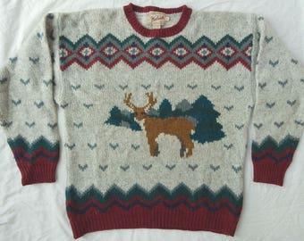 Woolrich Wool Deer Birdseye Gray Crewneck Sweater - XL Mens Geometric Thick