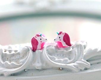 Unicorn plugs  gauges 3mm 8G stretched ears  cute animal kawaii retro pink rainbow