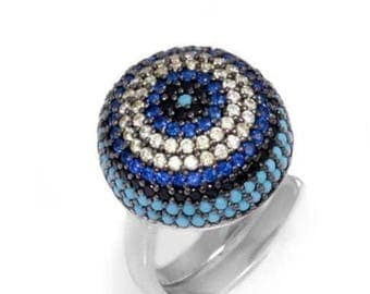 925 Sterling Silver Evil Eye Dome Coctail Ring