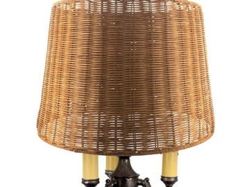 Wicker lamp etsy upgradelights medium brown woven wicker 16 inch floor or table lampshade 14x16x1175 aloadofball Images
