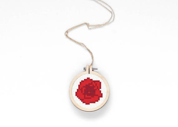Red mini rose cross stitch pattern floral valentine s day
