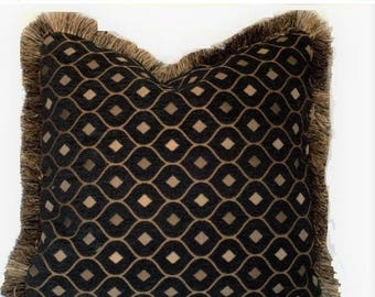 SALE black and gold embroidered chenille pillow with fringe for sofa chair or couch