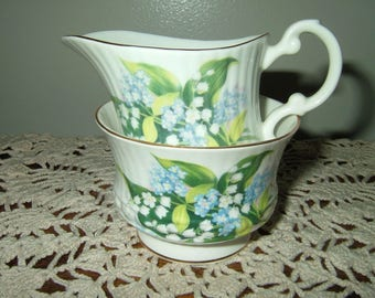 Vintage Bone China Sugar & Creamer~Royal Minster~Lily Of The Valley