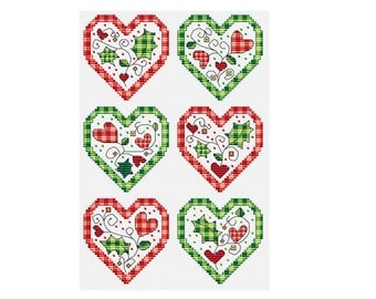 Holly and Hearts - Set of 6 - Durene J Cross Stitch Pattern - DJXS2247