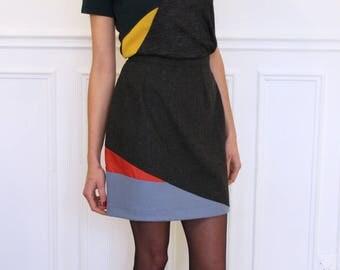 Straight skirt is asymmetric, titanium gray color yarn