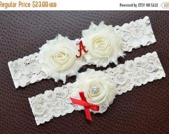 ON SALE Alabama Crimson Tide Wedding Garter Set, University of Alabama Garter, Alabama Crimson Tide Bridal Garter Set, Ivory Lace Wedding Ga