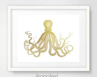 Gold Octopus Art Print, Octopus Poster, Octopus Decor, Octopus Wall Art