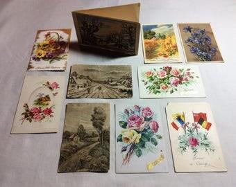 Set 9 Antique French postcards 1915 - 1920s Floral postcards,classic rose, flag, winter, poppies, summer landscape, artist Bonelli