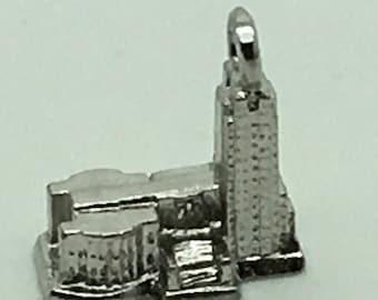 North Dakota State Capitol Bismarck Sterling Silver Charm Bracelet Charm Souvenir Travel Memorabilia