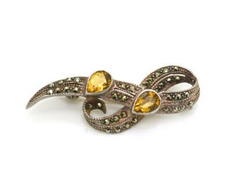 Vintage Sterling Silver Citrine and Marcasite Pin Brooch - 5.5 dwt