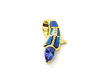 Vintage 14k Yellow Gold Tanzanite Opal & Diamond Slide Pendant - 2.15 ct. total