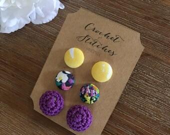 Signature Earring Set ~ Ladies Earrings ~ Fabric Studs ~ Crochet Earrings