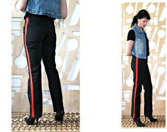 Levis jeans Denim pants Casual wear Side stripe pants High waist Goth Steampunk Hipster Boho Hippie Denim trousers