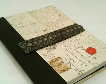 Old World writing Journal, lined pages, Journal, Bookmark, Diary, Notebook, gift for writers, writing journal, old letters, wax stamp, gift