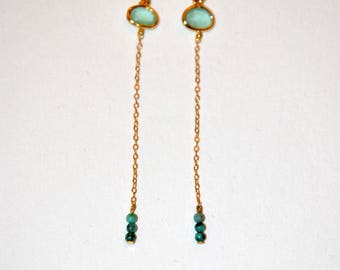 Zoisite and Emerald gold-plated earrings