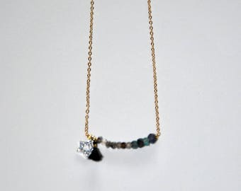 Gold-plated necklace, faceted Labradorite and Emerald beads, silver star paved Zircons, black tassel