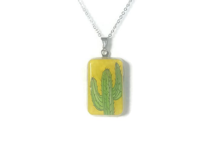 Yellow, Green cactus pendant Cactus jewelry on stainless steel chain cactus accessories cactus resin pendant resin jewelry o