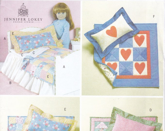 """Free Us Ship Butterick 4538 Out of Print 18""""Doll Clothes Designer Bedding American Girl Quilt Pillow Bed Factory Folded New Sewing Pattern"""