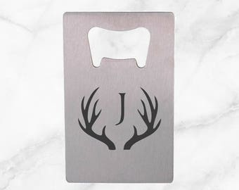 Personalized Bottle Opener with Monogram inside Antlers, Christmas Gift