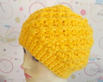 Yellow beanie hat Slouchy beanie hat yellow hat soft warm knitted hat